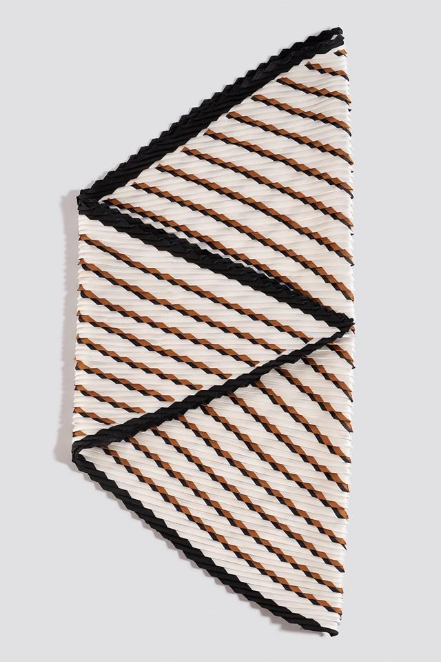 Striped Textured Scarf Cognac