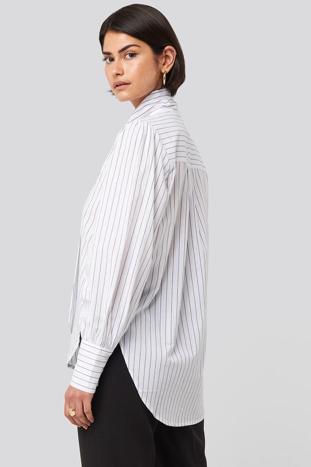 Striped Tie Knot Shirt Stripe Black/White