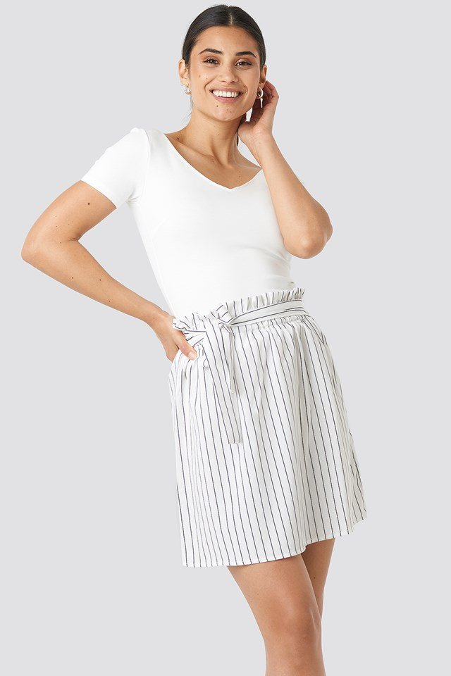 Striped Tied Waist Skirt White