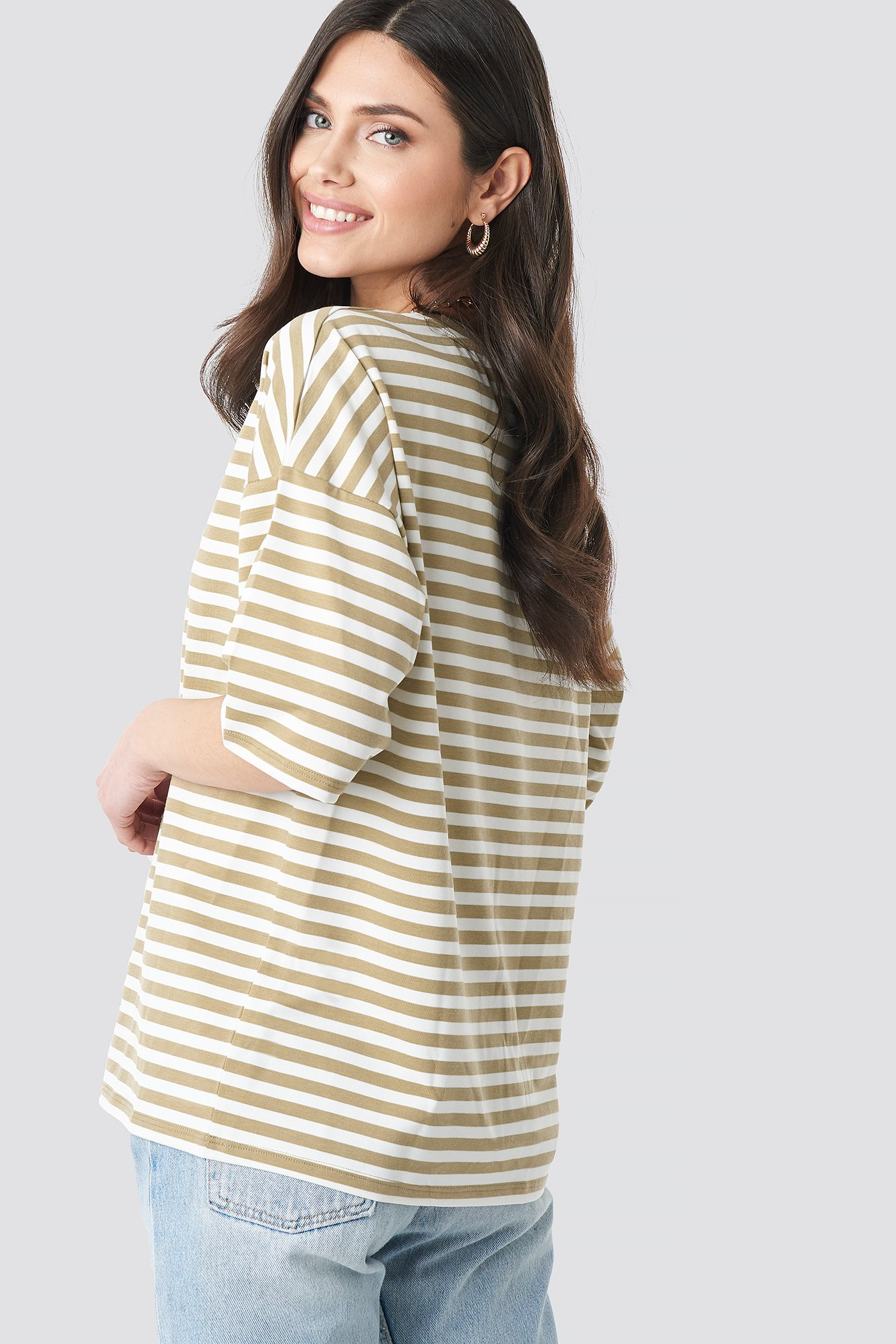 Striped Oversized Viscose Tee NA-KD.COM