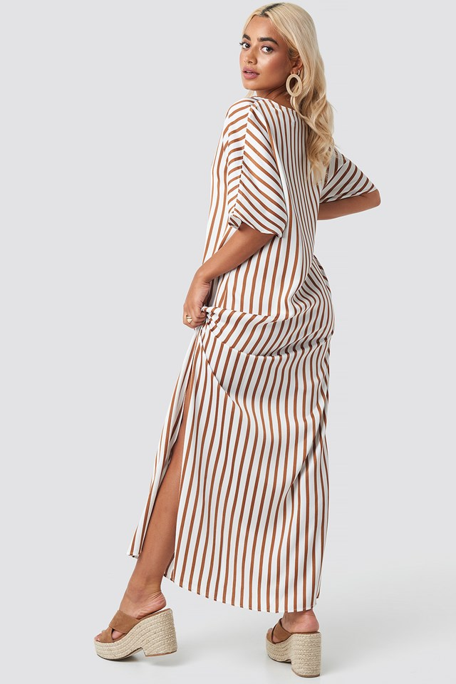 Striped V Neck Side Slit Dress NA-KD.COM