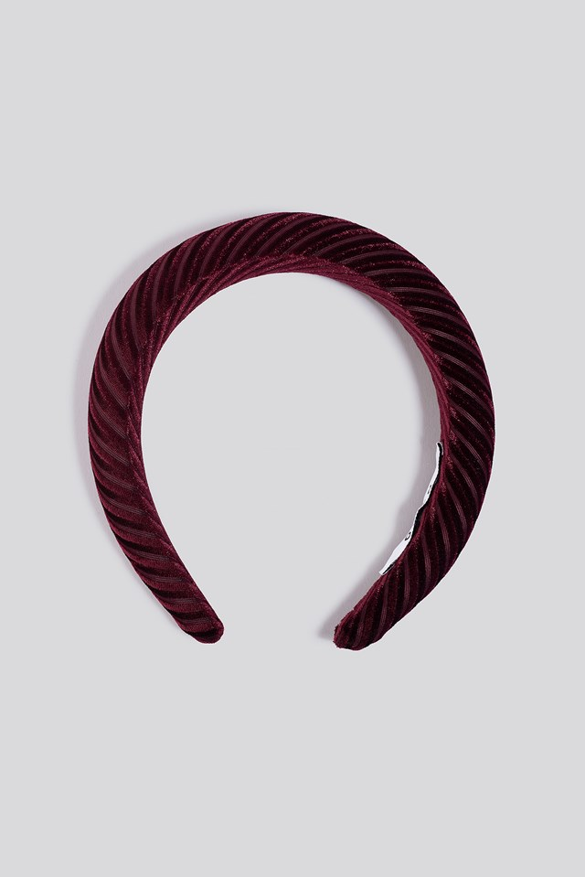 Striped Velvet Hairbands Burgundy