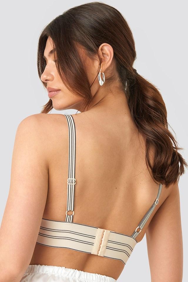 Striped Wide Elastic Lace Bra White