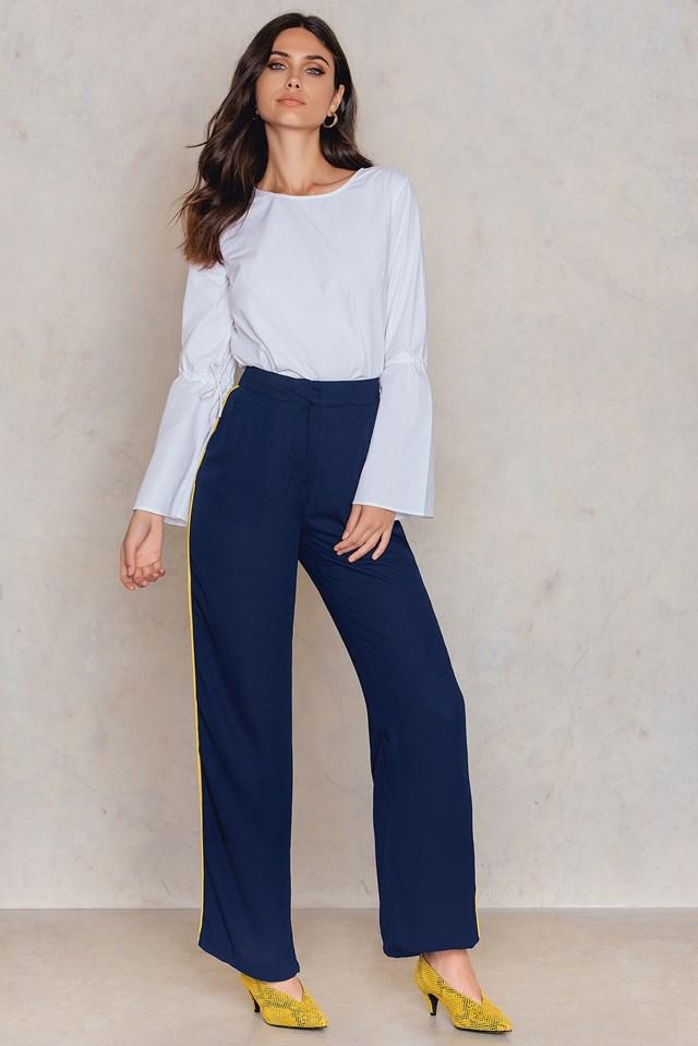 Szerokie spodnie w paski Dark Blue