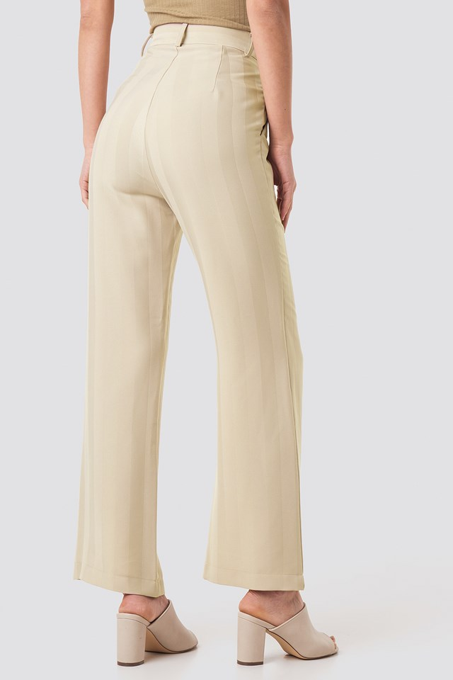 Striped Wide Trousers Cream
