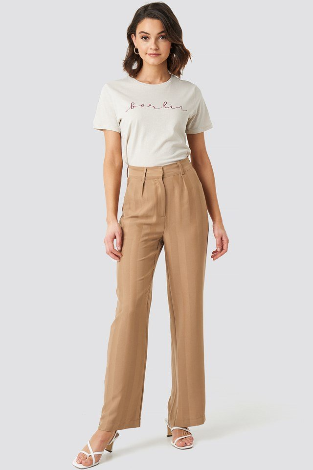 Striped Wide Trousers Beige