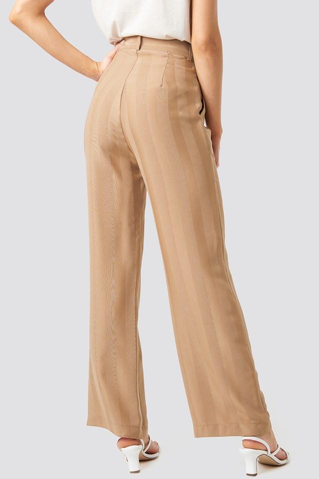 Striped Wide Trousers Beige