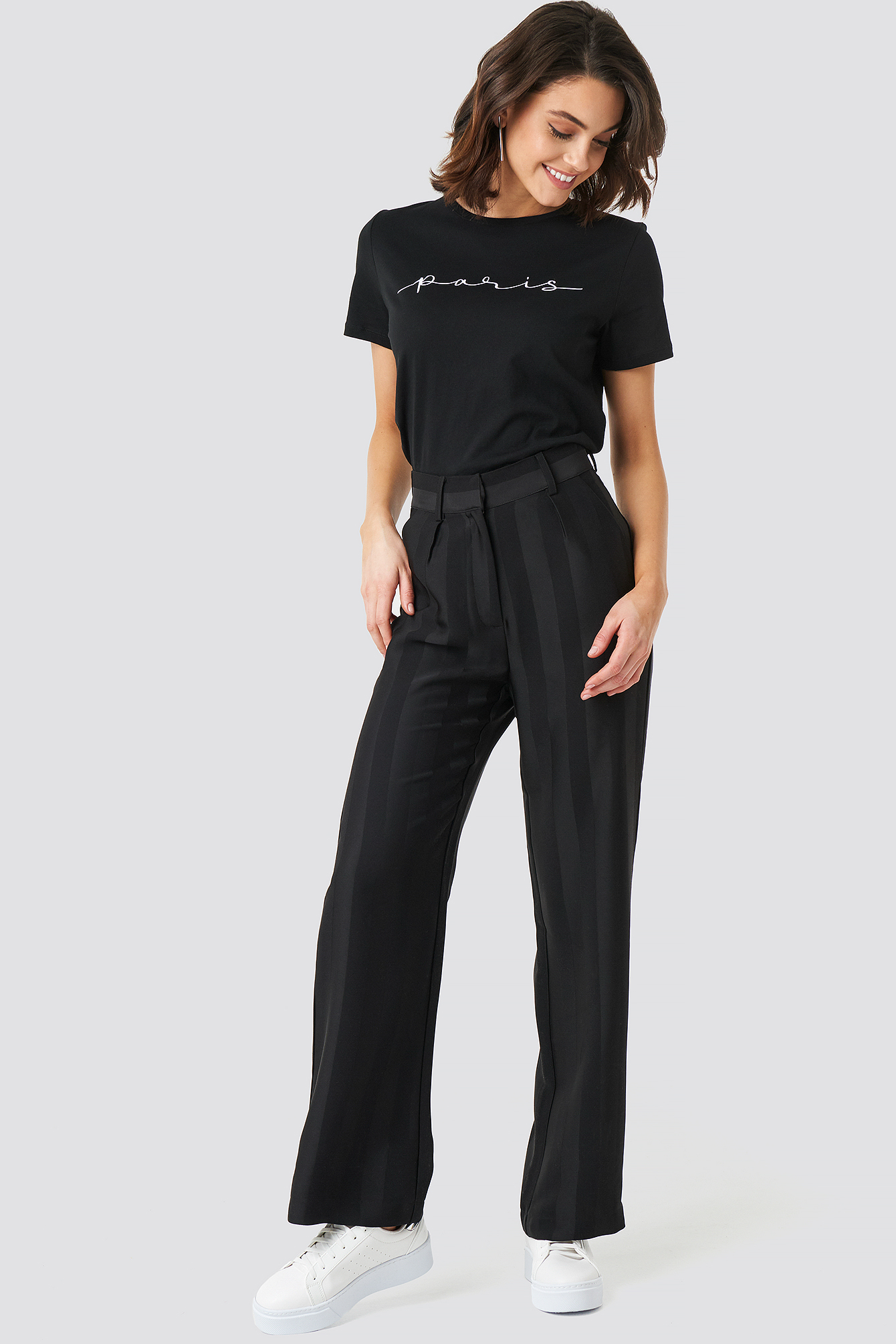 na-kd -  Striped Wide Trousers - Black