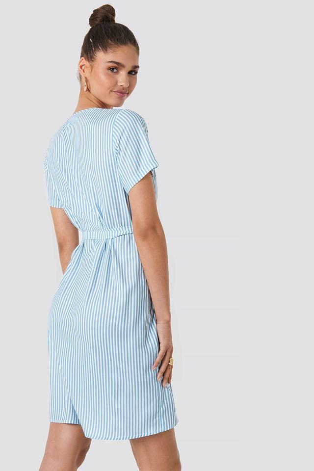 Striped Wrap Mini Dress Light Blue