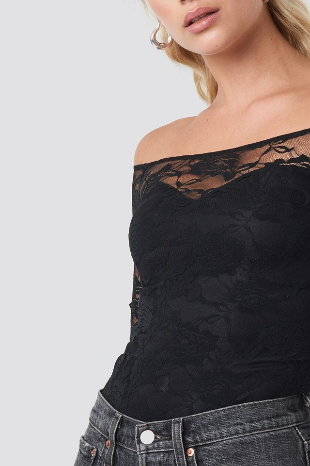Off Shoulder Fitted Lace Top Black