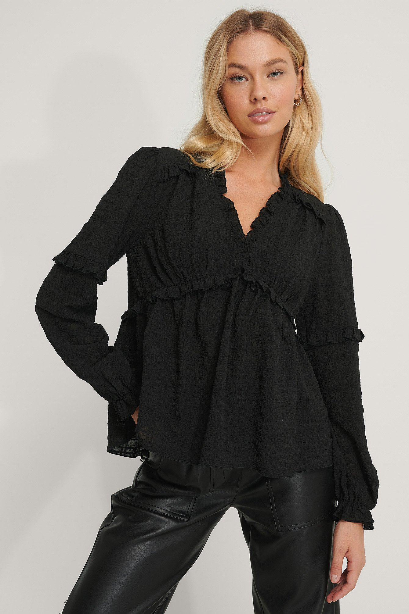 Black Structured Frill Blouse