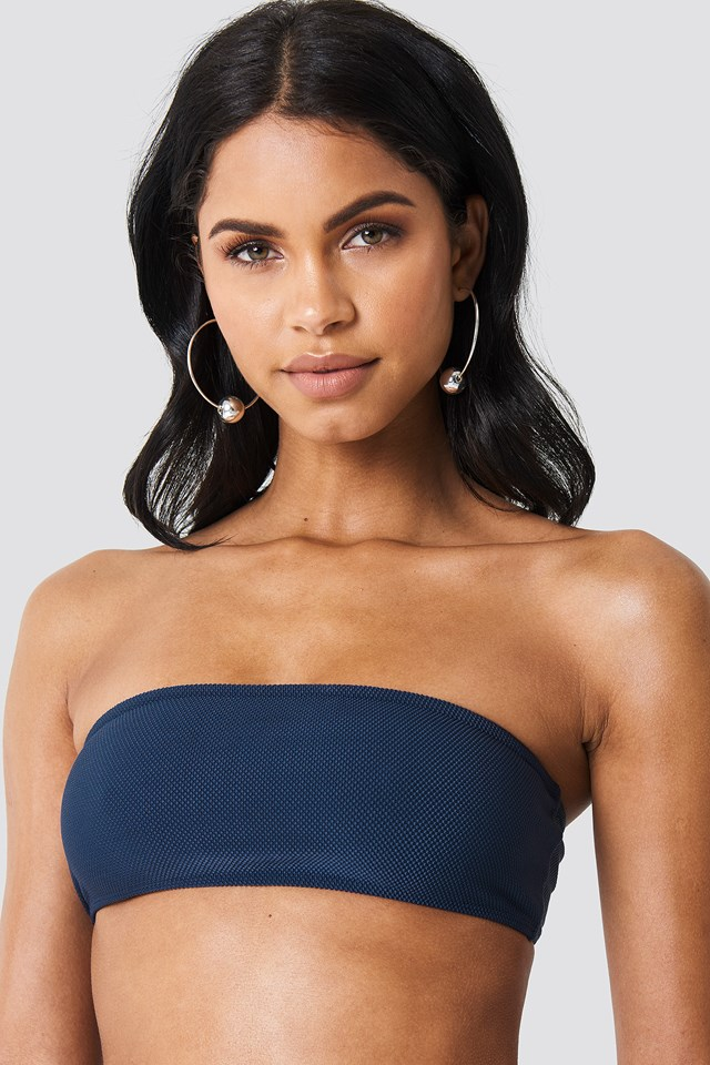 Structured Bandeau Bikini Top Dark Blue