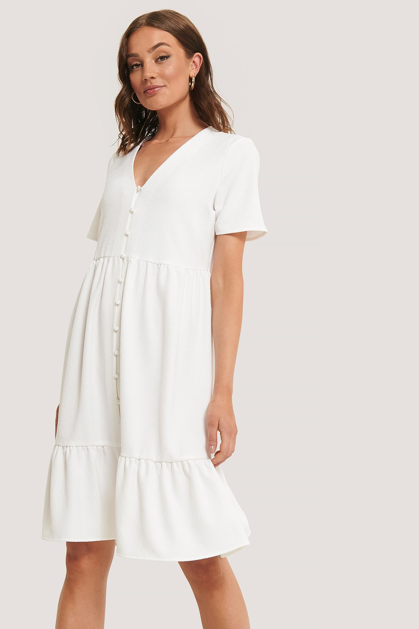 na-kd boho -  Strukturiertes Kleid Mit Knöpfen - White