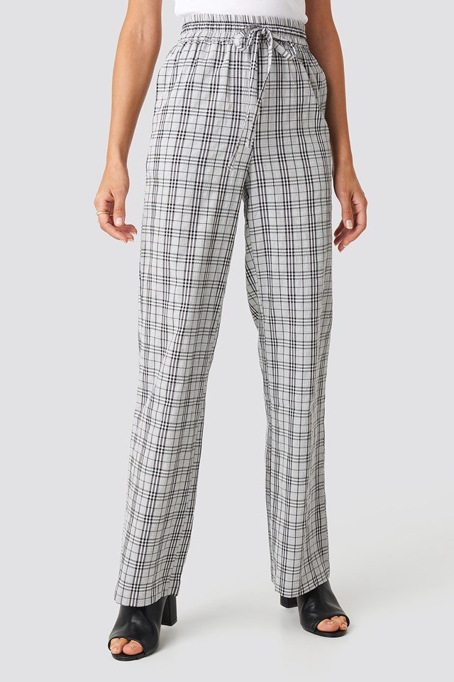 Structured Checkered Relaxed Trousers Black/White