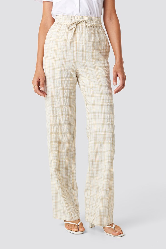 Structured Checkered Relaxed Trousers Beige/White