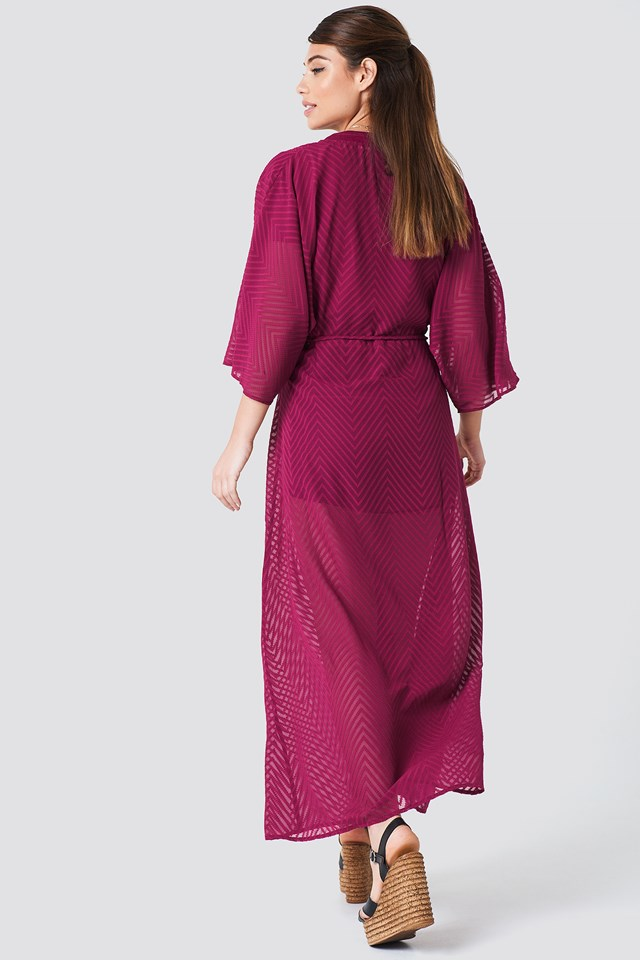 Structured Chiffon Coat Dress Burgundy