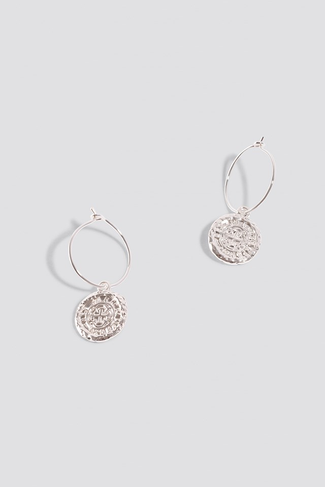 Structured Coin Hoop Earrings Silver