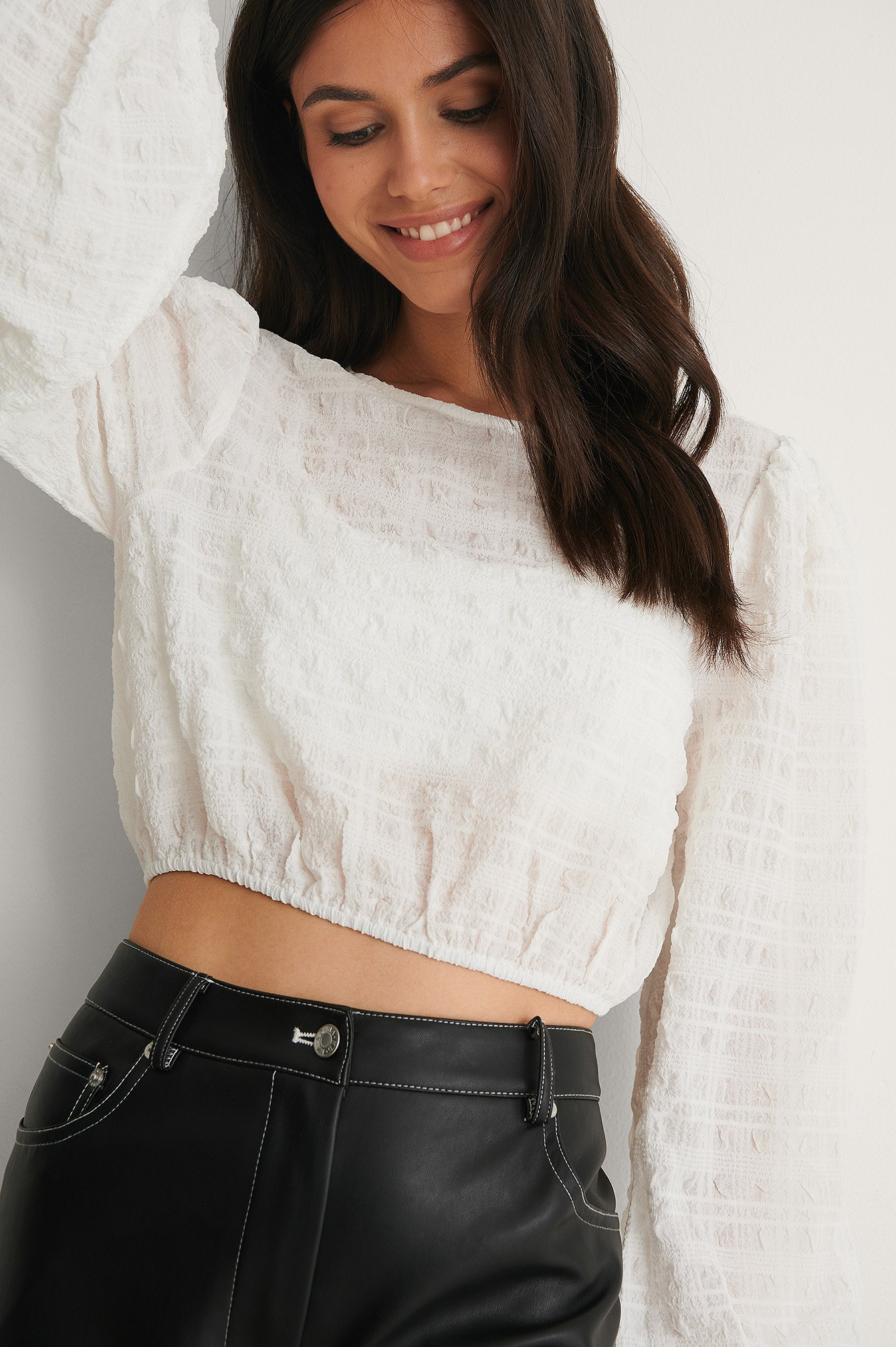 White Structured Cropped LS Blouse