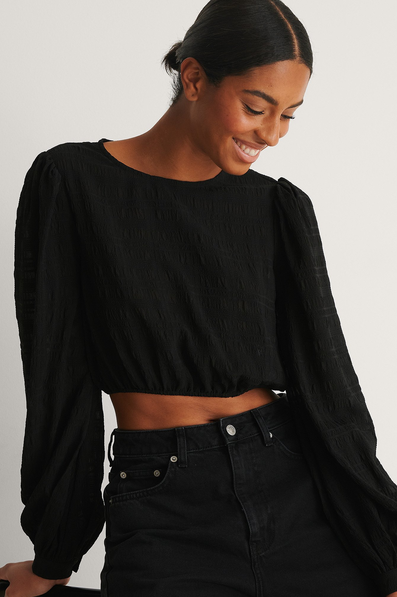 Black Structured Cropped LS Blouse