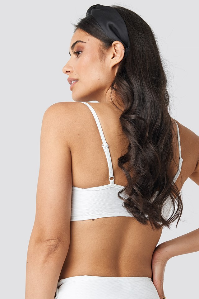 Structured Drawstring Bikini Top Offwhite