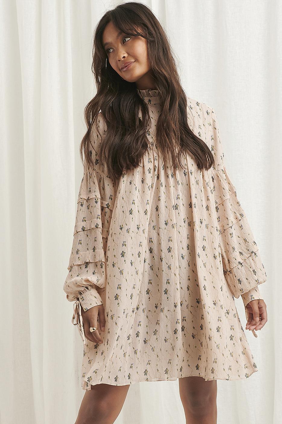 na-kd boho -  Strukturiertes Kleid Mit Blumendruck - Multicolor