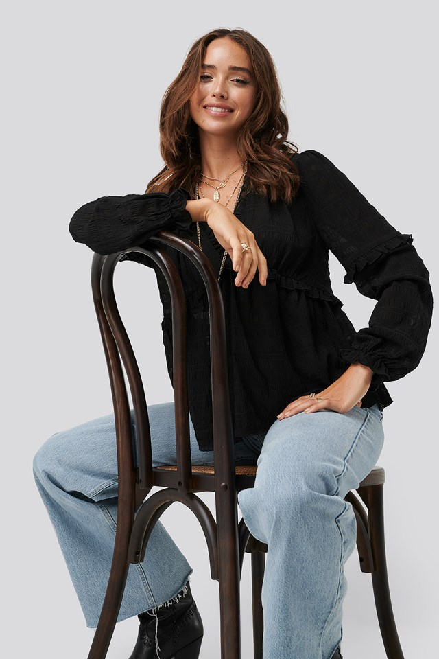 Structured Frill Blouse Black