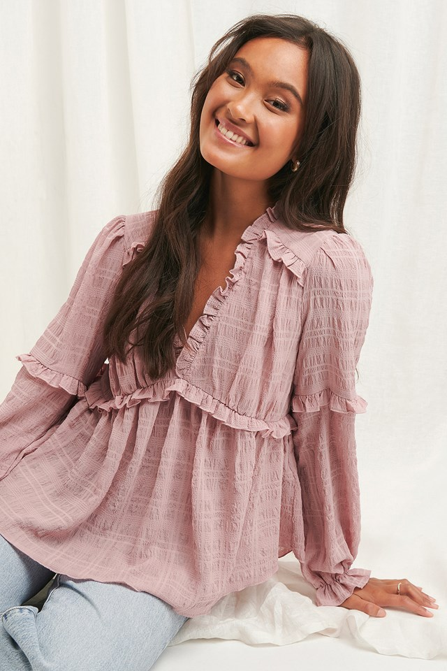 Structured Frill Blouse Dusty Pink