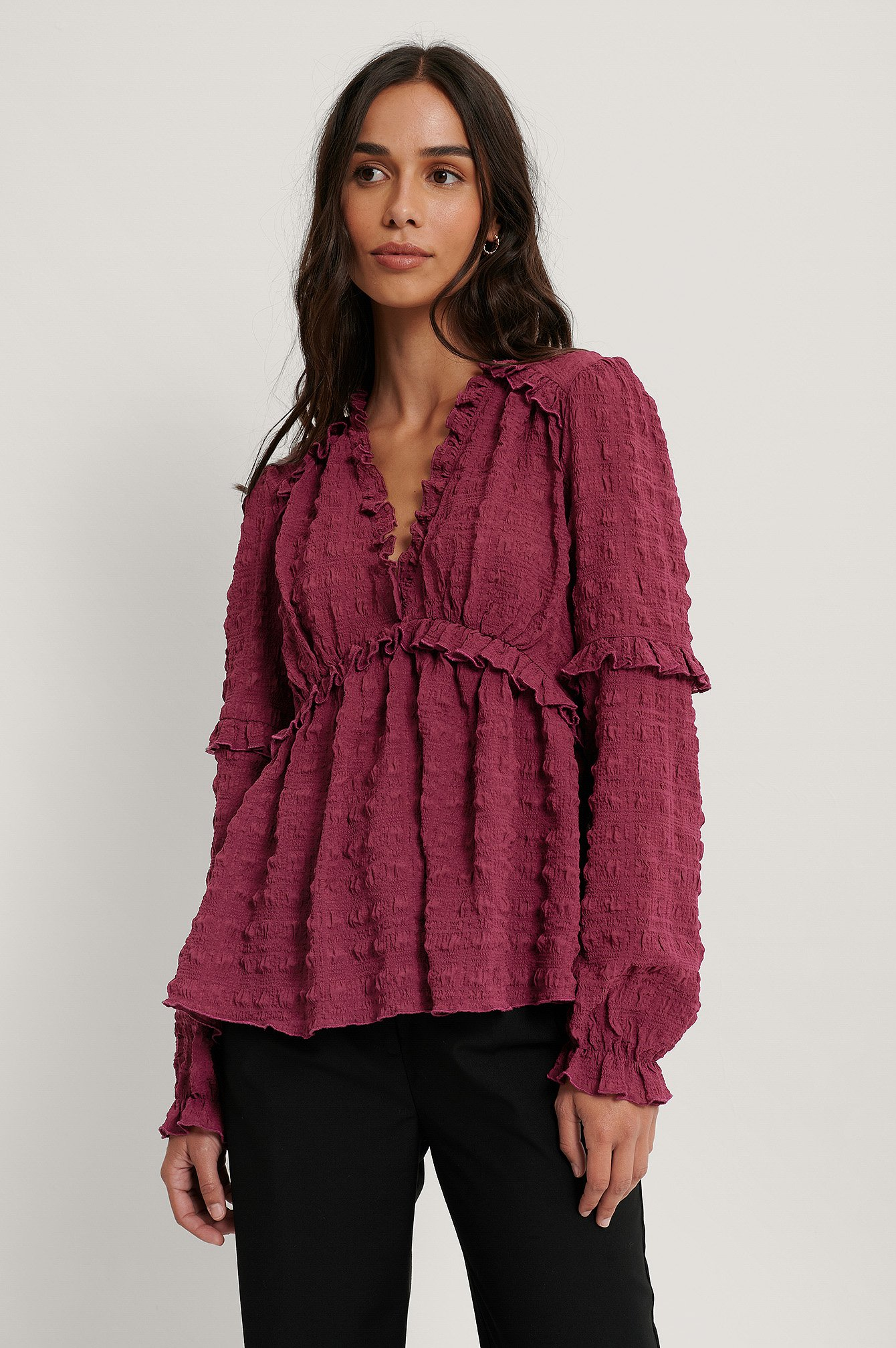 Plum Structured Frill Blouse