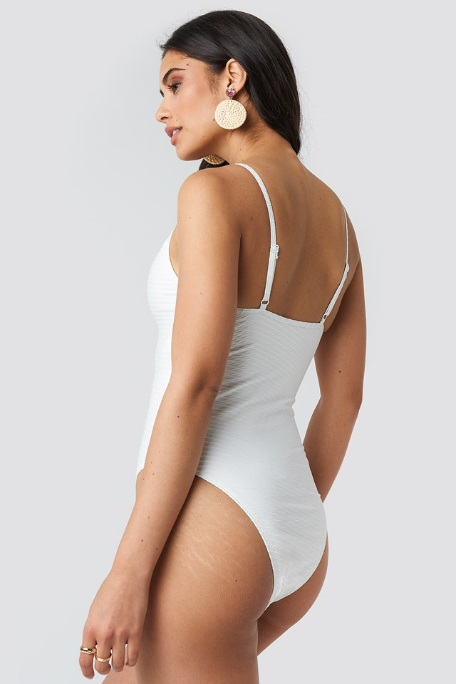 Structured Front Drawstring Swimsuit Offwhite