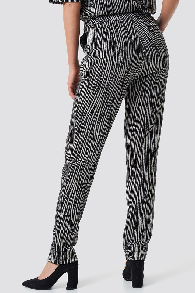 Structured Glittery Pants Black