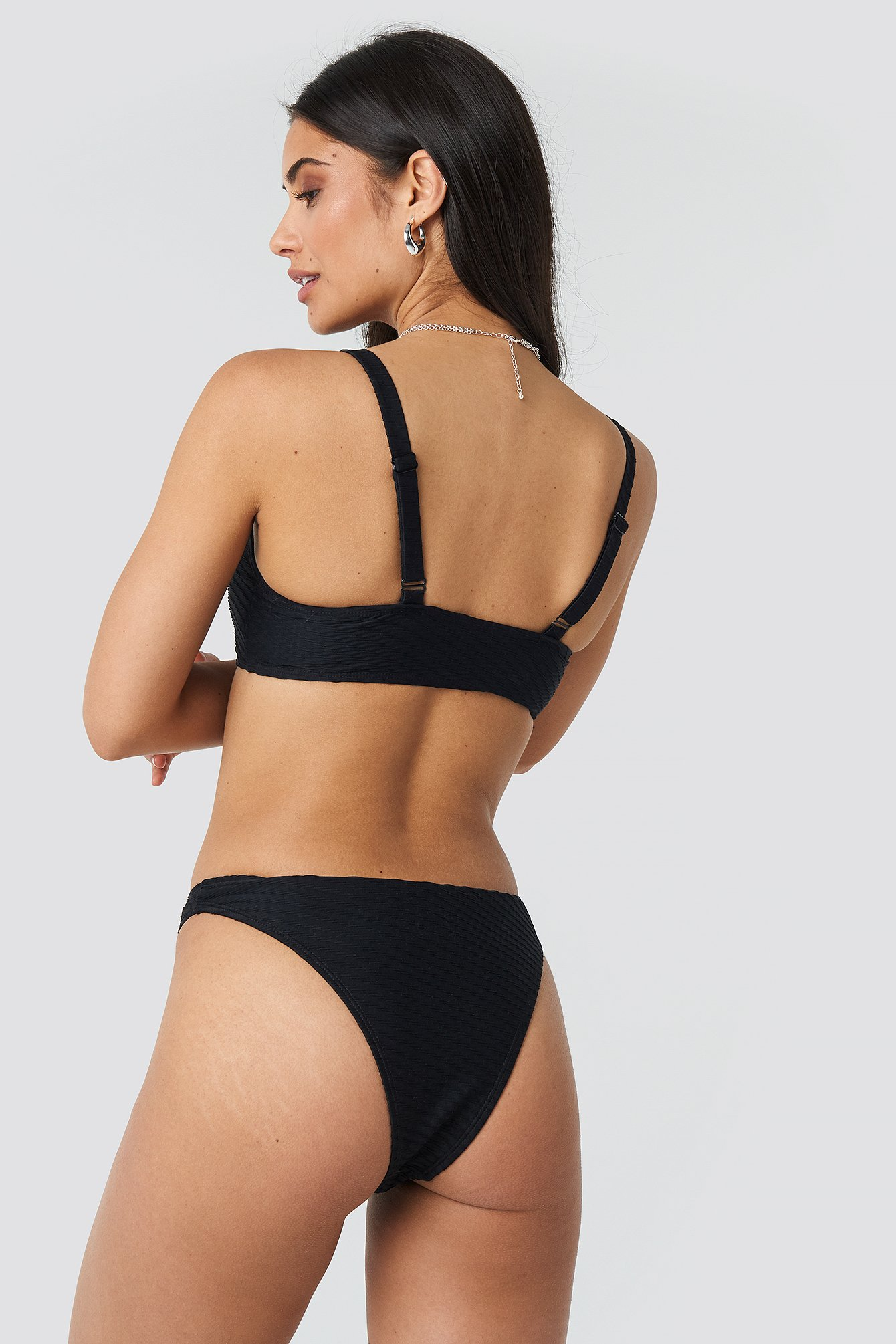 Black Structured High Cut Bikini Panty