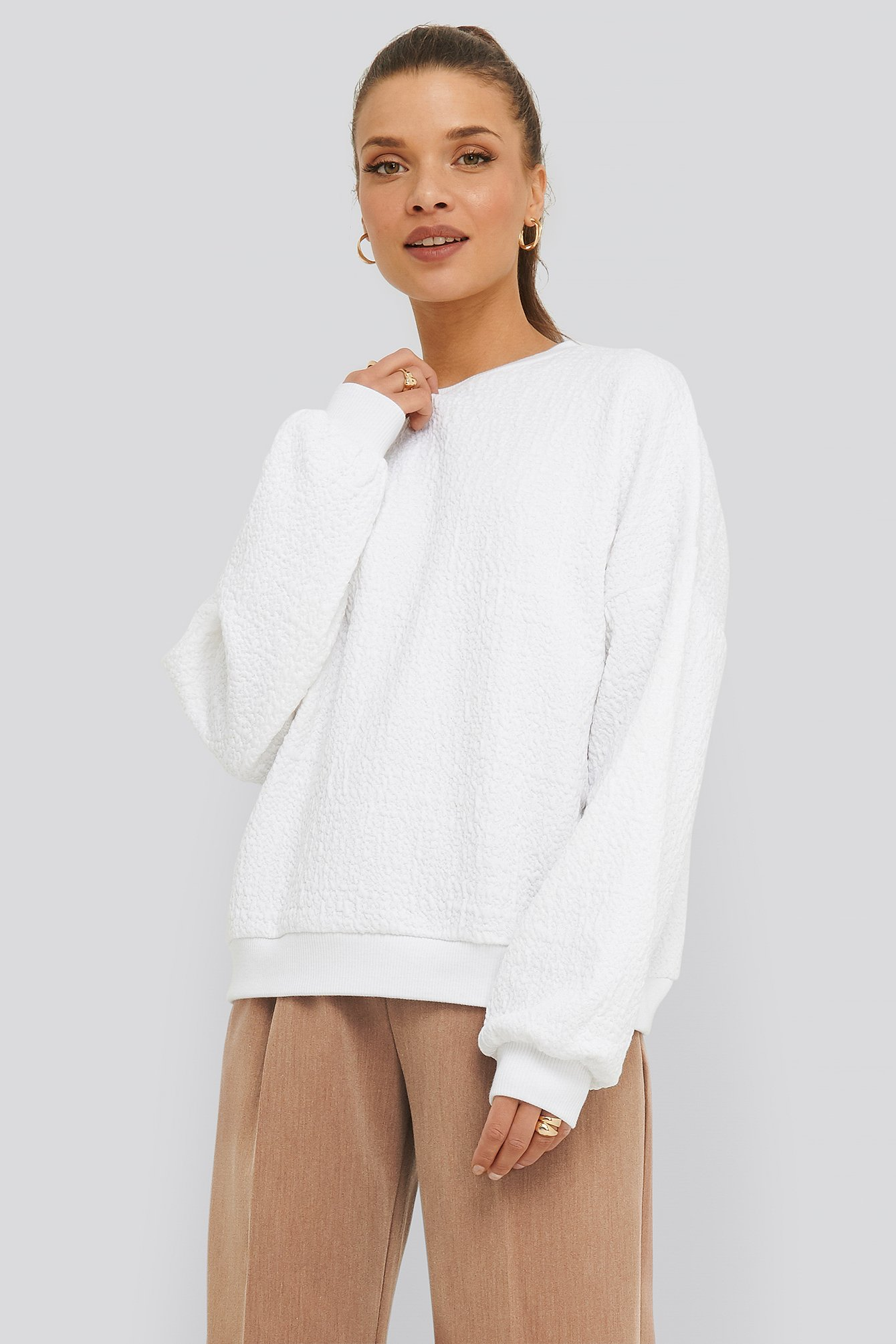 na-kd -  Structured High Neck Sweater - White