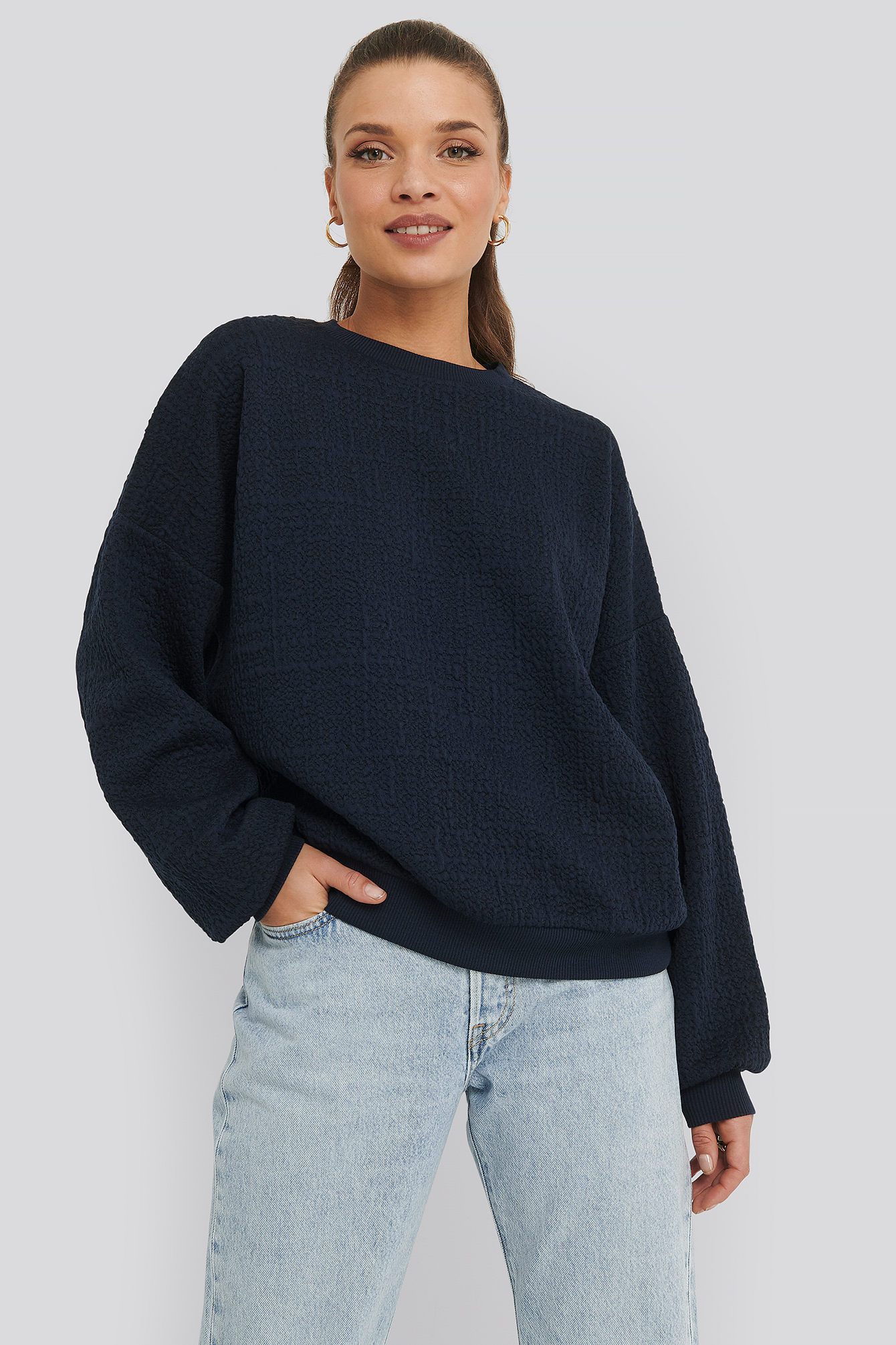 na-kd -  Structured High Neck Sweater - Blue