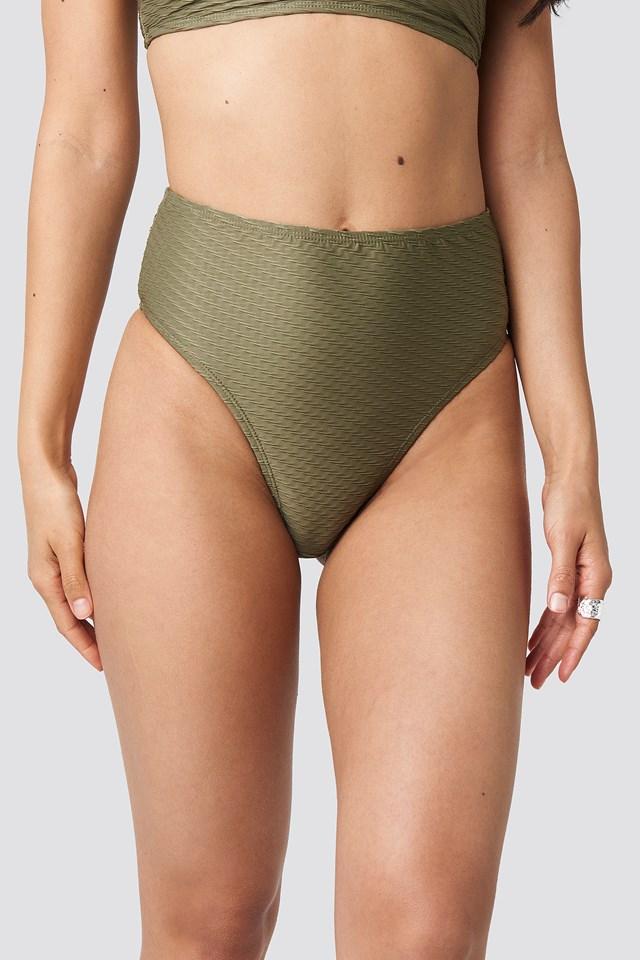 Structured High Waist Bikini Panty Khaki