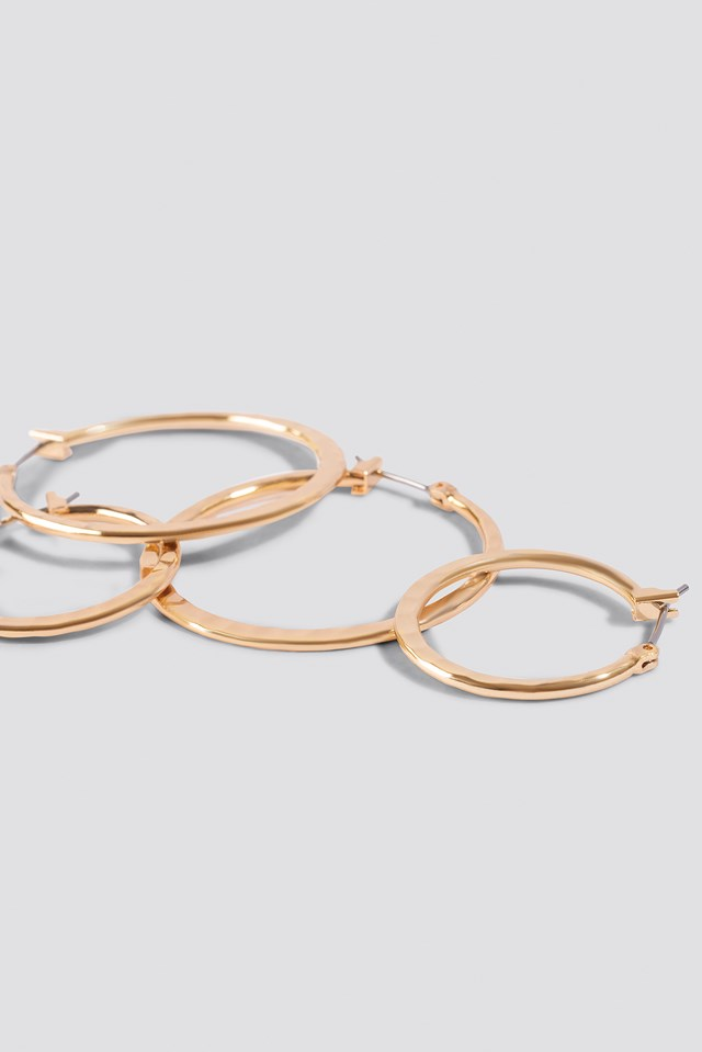 Structured Hoop Earrings (2-pack) Gold