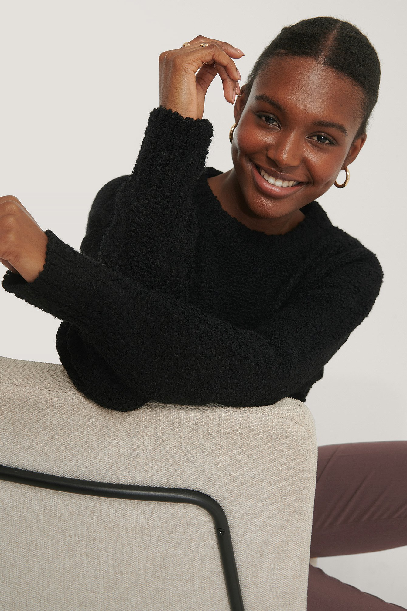 Black Structured Knitted Sweater