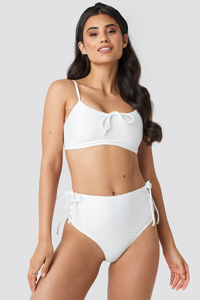 Structured Lace Up Bikini Panty Offwhite