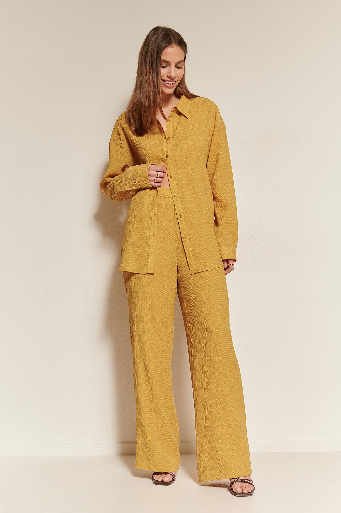 Mustard Structured Loose Pants