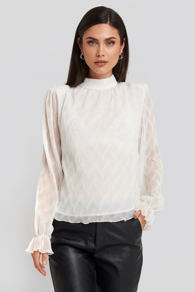 Structured Marked Shoulder Blouse White