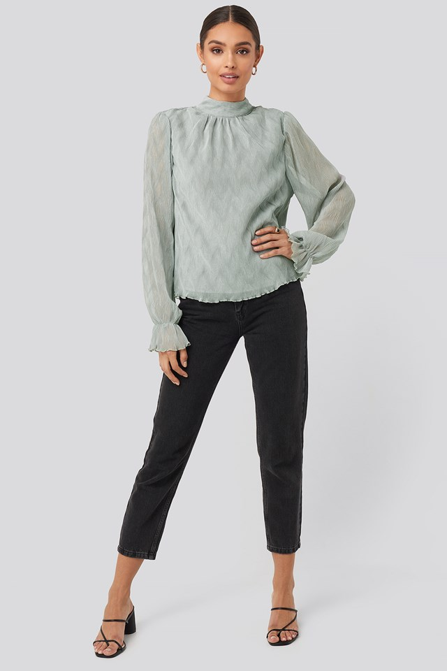 Structured Marked Shoulder Blouse Dusty Blue