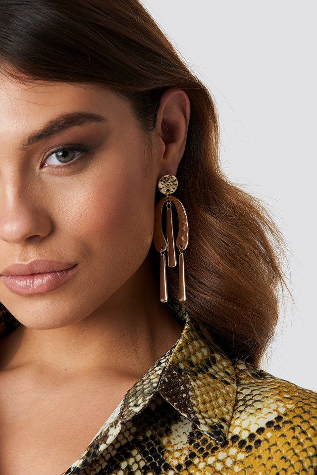 Structured Metal Earrings Gold