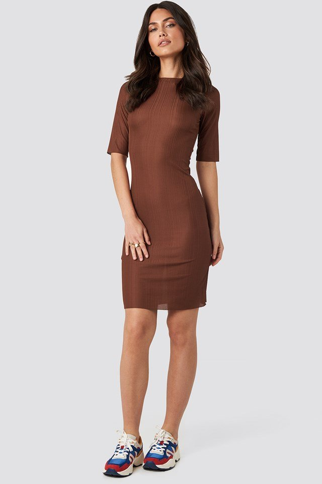 Structured Midi Dress Rustic Red