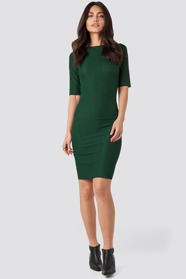 Structured Midi Dress Emerald Green