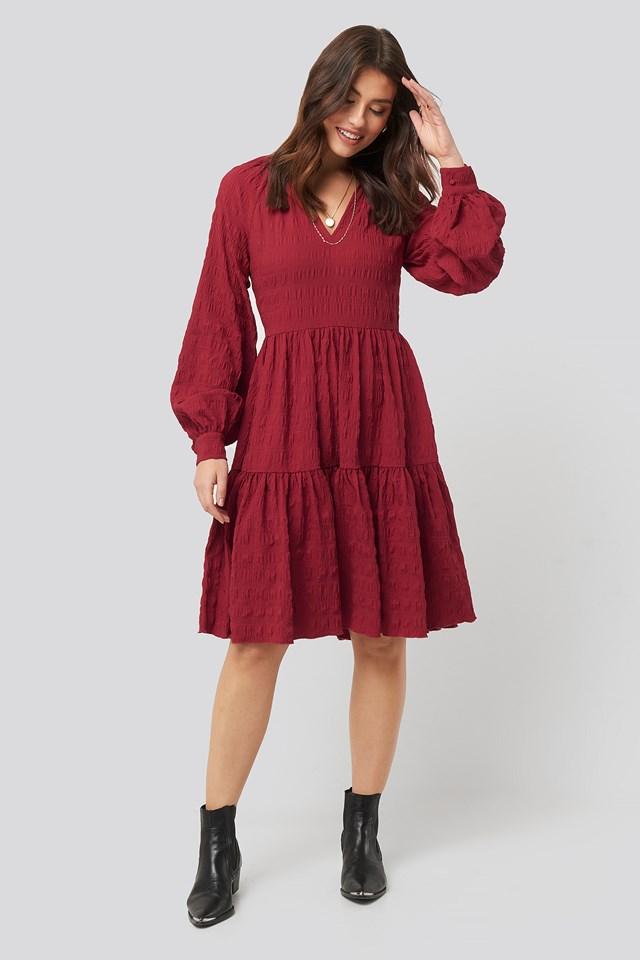 Structured Open Back Dress Dark Red