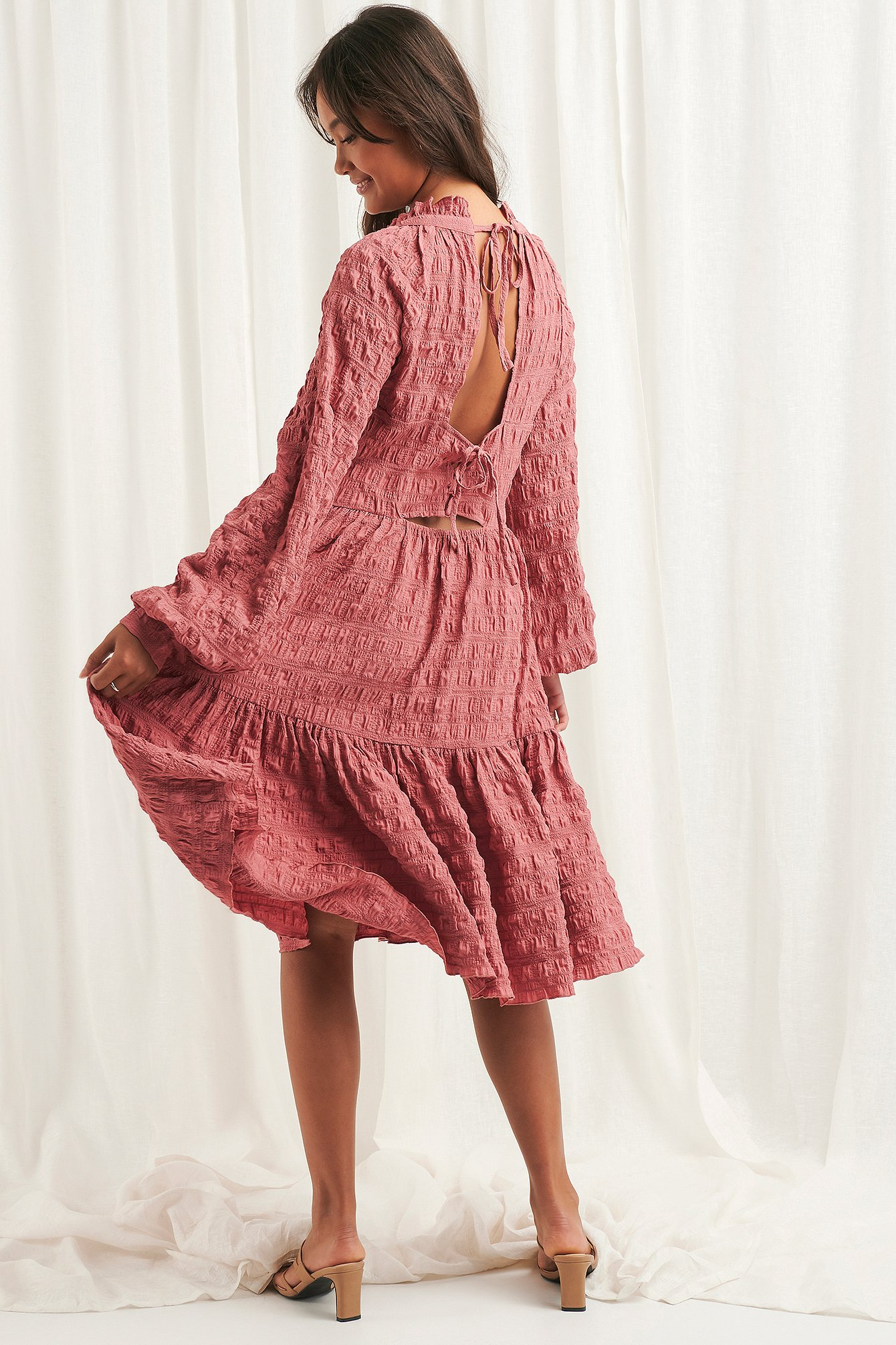 Dark Dusty Pink Structured Open Back Dress
