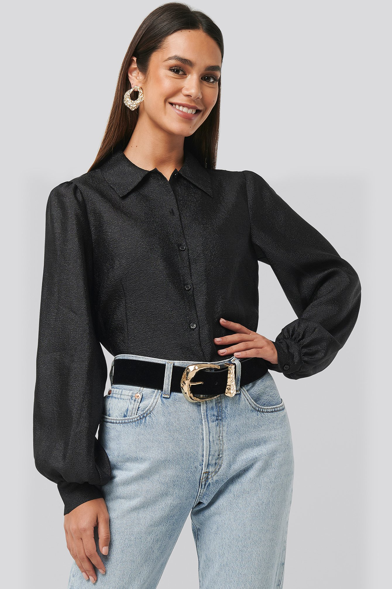 Black Structured Organza Balloon Sleeve Blouse
