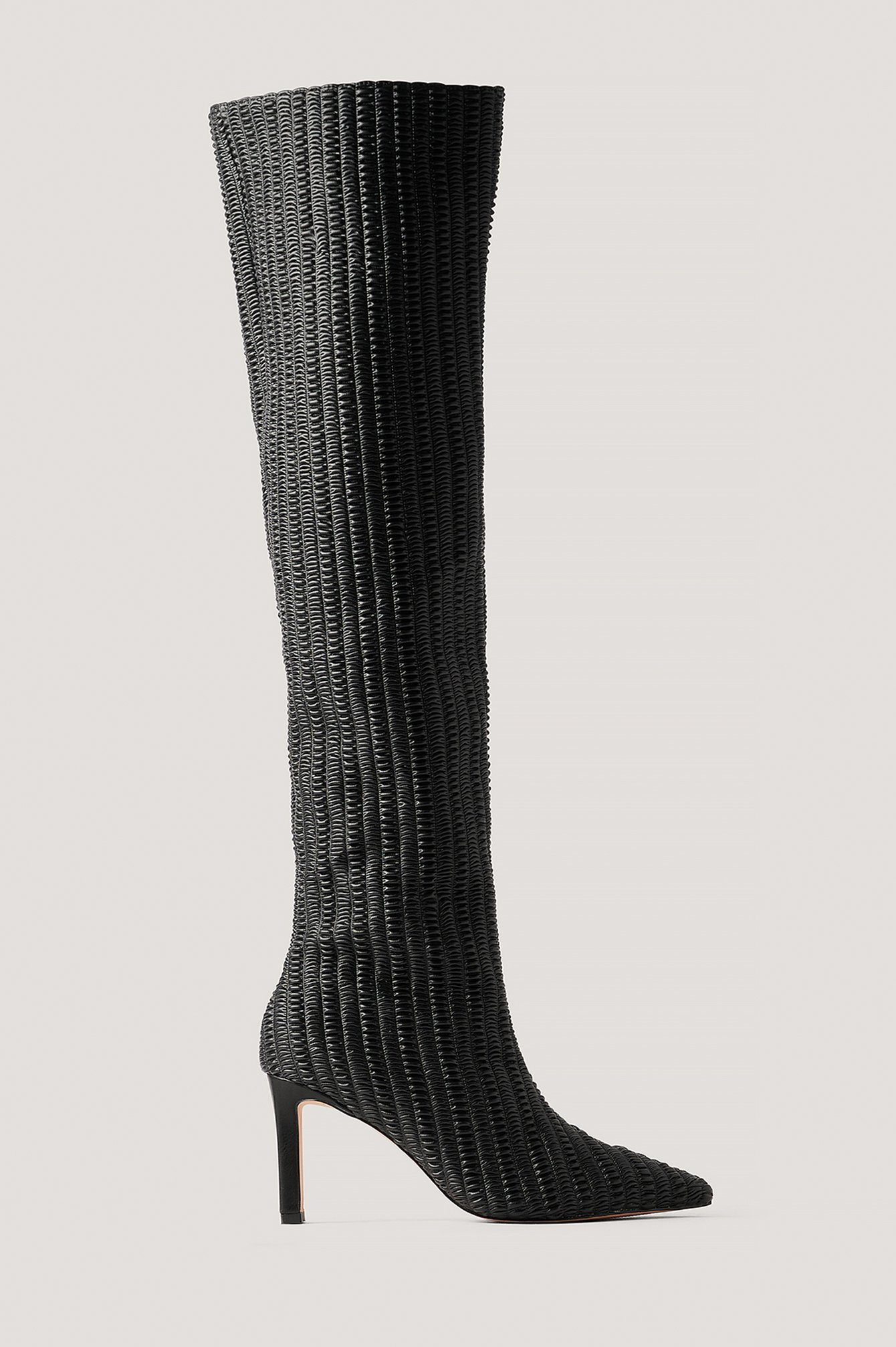 na-kd shoes -  Strukturierte Overknee-Stiefel - Black