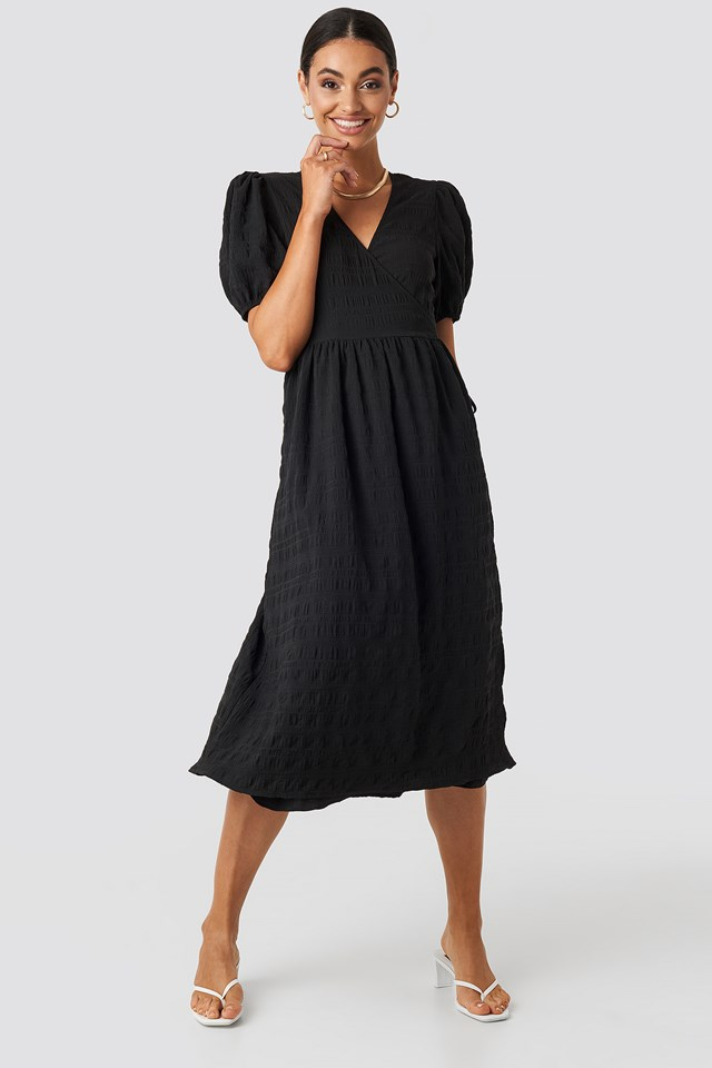 Structured Overlap Midi Dress Black