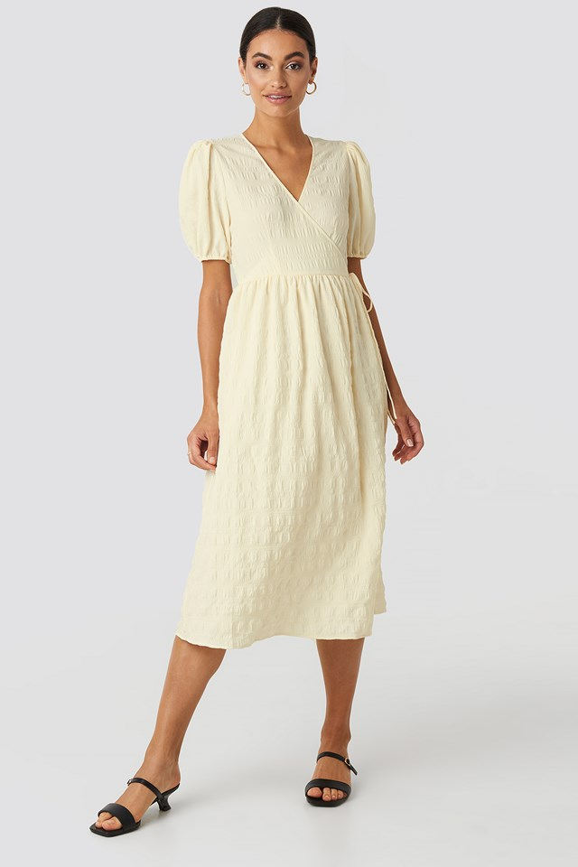 Structured Overlap Midi Dress Cream