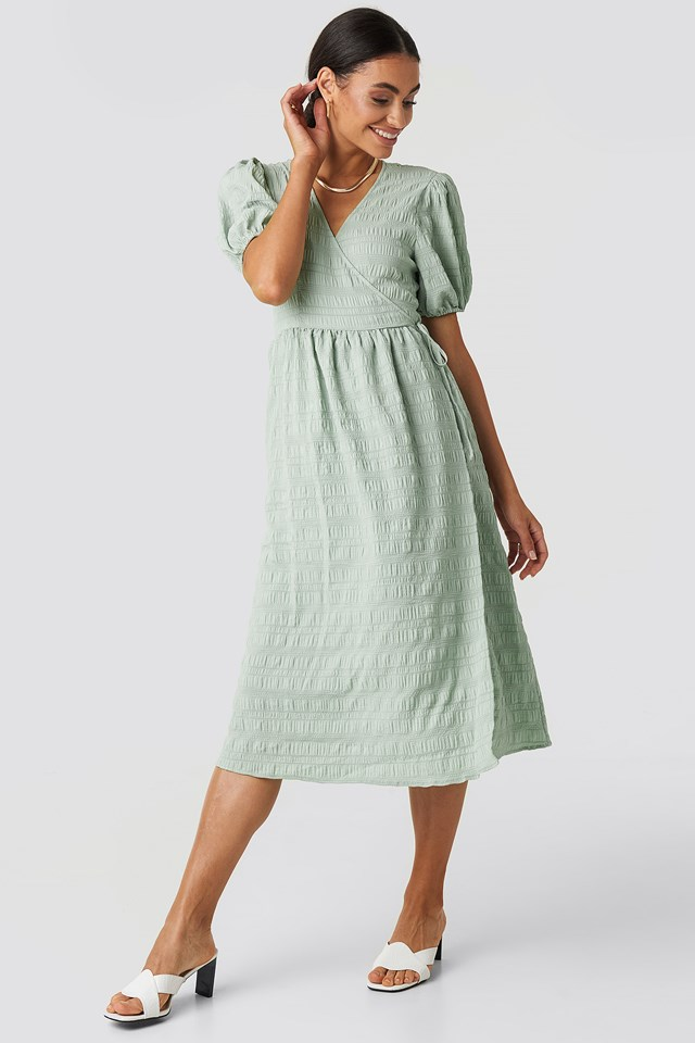 Structured Overlap Midi Dress Dusty Green